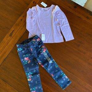Gap floral skinny jeans and ruched top